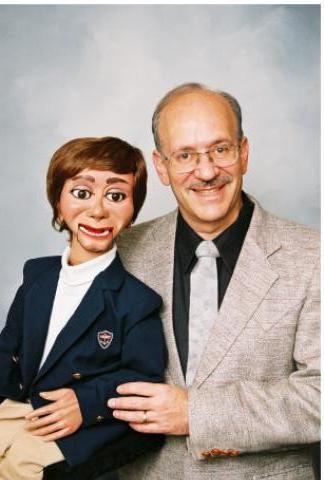 Dr. Sam Caron and Elwood, the puppet with ADHD